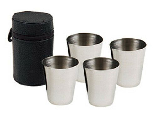 4 x Cased Whisky Tot Cups, Large Whisky Spirits Beaker 70ml, FREE FUNNEL