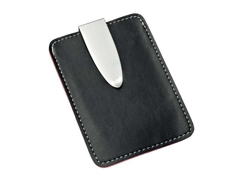 Black Leatherette Money Clip and Credit Card Holder   Engraving Available