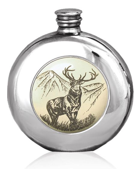 Highland Stag Hip Flask 6oz British Pewter  Round Scrimshaw Plaque   Message Engraving  Available