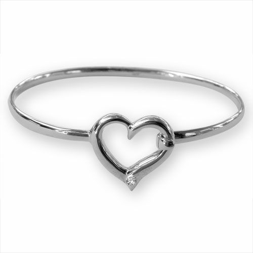 Ladies Sterling Silver Heart Bangle  British Made