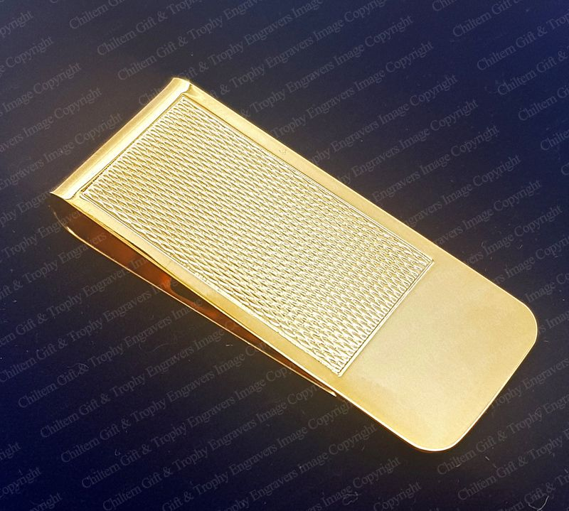Mens Gold Plated Engine Turned Money Clip  Engraved FREE
