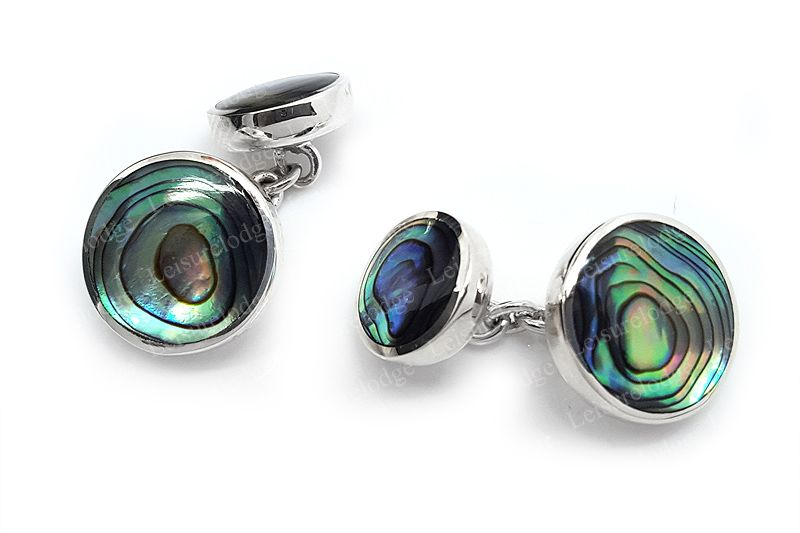 Mens Round Oyster Shell Cufflinks  DoubleSided   925 Sterling Silver