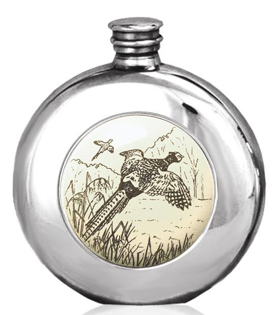 Pheasant Game Bird Hip Flask 6oz British Pewter  Round Scrimshaw Plaque  Engraving available