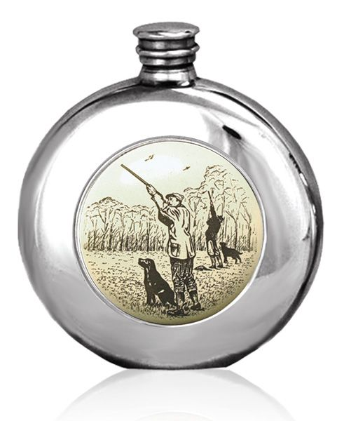 Pheasant Shooting Gundog  Scrimshaw Scene Hip Flask 6oz British Pewter  Message Engraving Offer