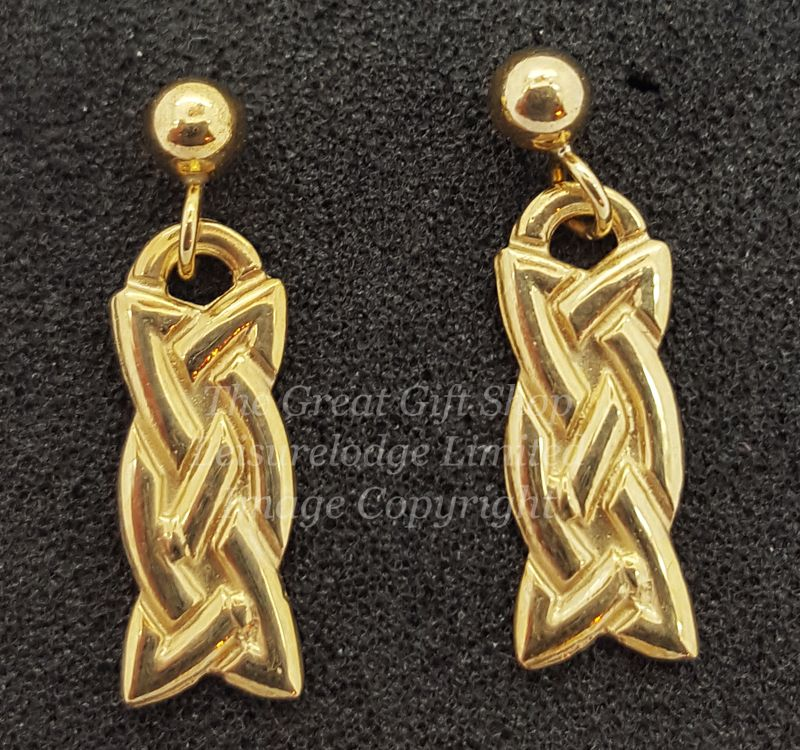 Celtic Eternal Knot Drop Earrings 9ct Gold - Fine Quality - Francis Hamilton England