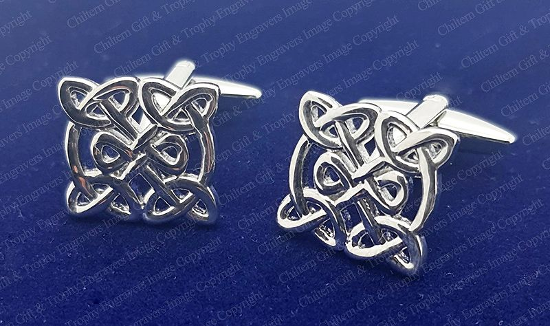 Celtic Neverending Knot Silver Plated Cufflinks - FREE Box Plaque