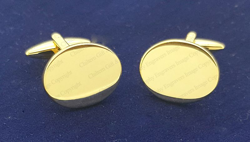 Gold Plated Flat Oval Cufflinks Finest Quality High Polished Engraved FREE