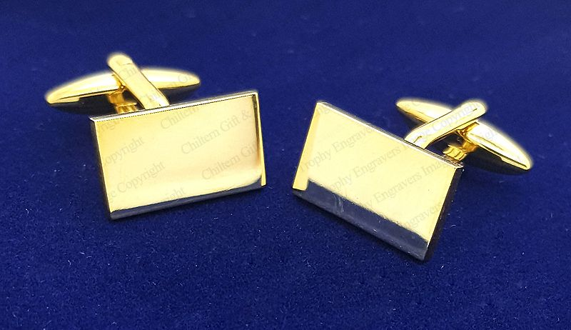 Gold Plated Rectangular Cufflinks Finest Quality High Polished Engraved FREE