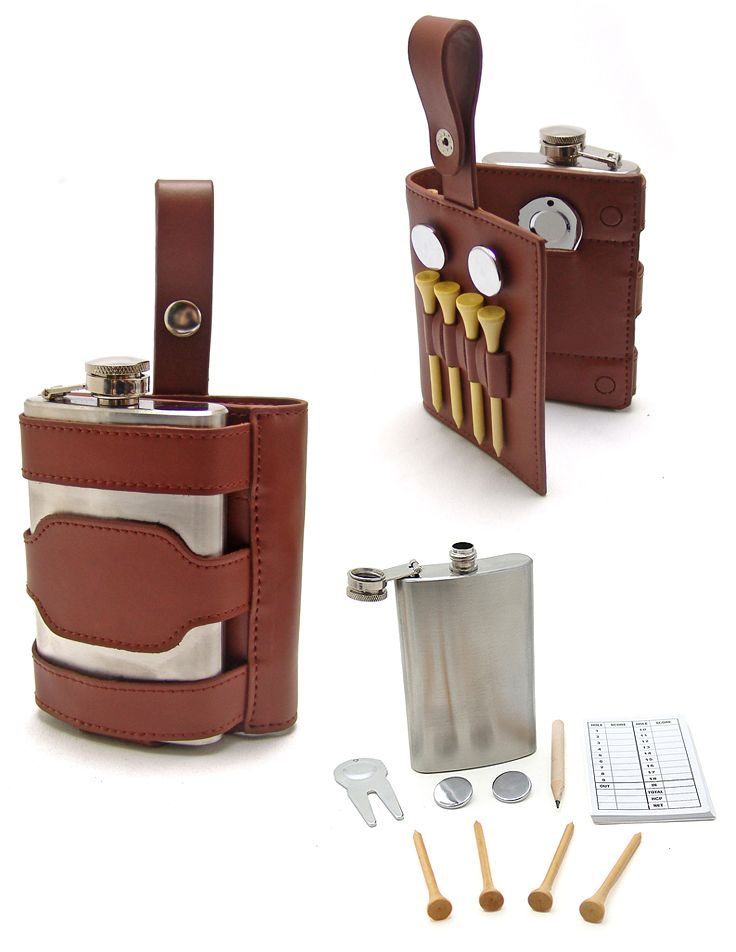 Golfers Brown Leather Hip Flask Tool Set  Engraved FREE