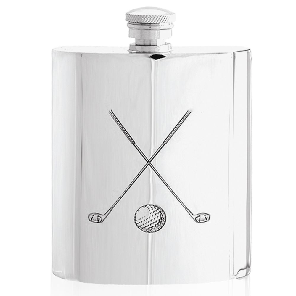 Golfers English Pewter 6oz Hip flask Crossed Golf Clubs Design Ideal golfing Gift or Prize