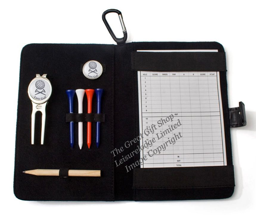 Golfers Leather Scorecard Holder with Tees, Ball Marker, Pitch Fork & Pencil