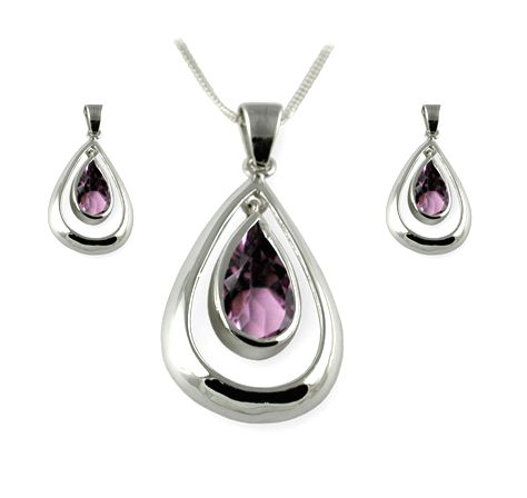 Ladies Sterling Silver Amethyst Pendant Earrings Set