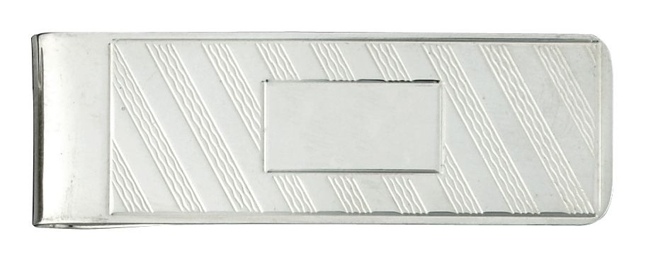 Mens 925 Sterling Silver Diagonal Line Money Clip