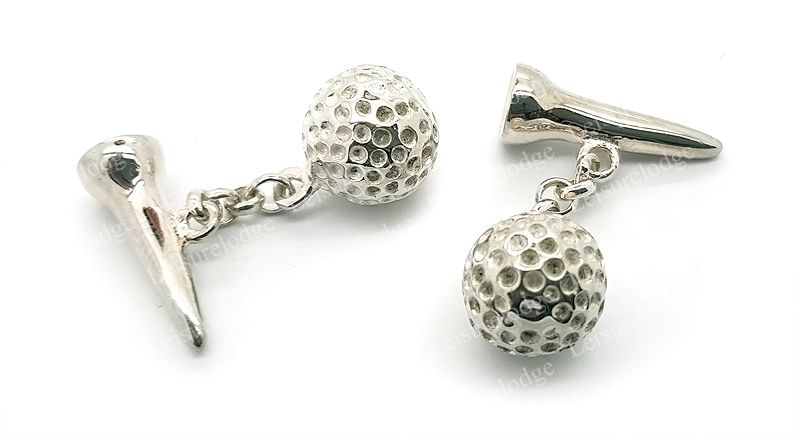 Mens Golfer 925 Sterling Silver Cufflinks - Golf Ball & Tee Design - British Made