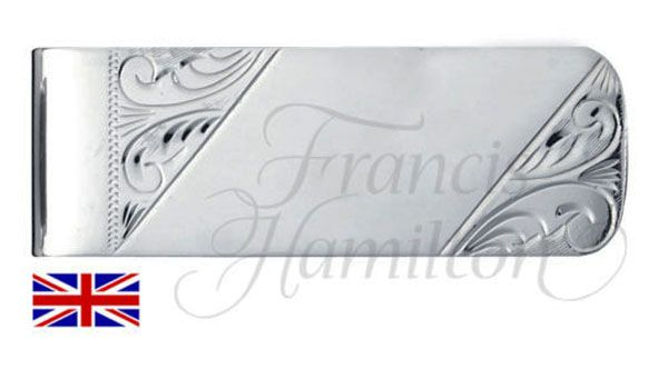 Mens Hand Engraved Sterling Silver Money Clip  Engravable