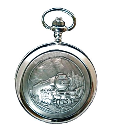 Railway Steam Train Full Hunter Mechanical Skeleton Pocket Watch - Engraving Available