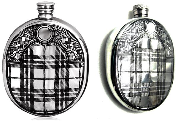 Scottish Oval Tartan Pewter Hip Flask  6oz  Mens Scotland Gift Souvenir