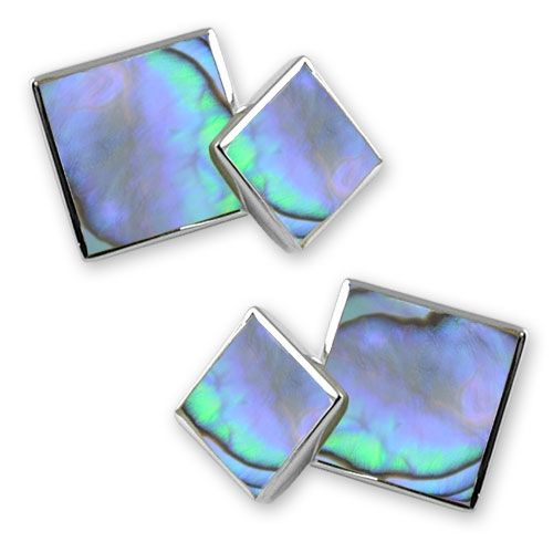 Square Double Sided Oyster Shell Sterling Silver Cufflinks  British Hand Made - Save over £25
