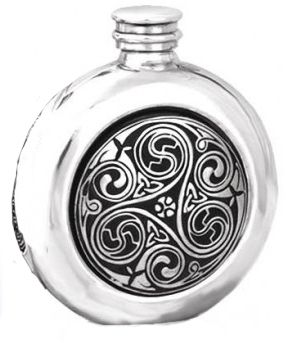 Triskele Swirl Celtic Knot  Hip Flask 6oz British Pewter