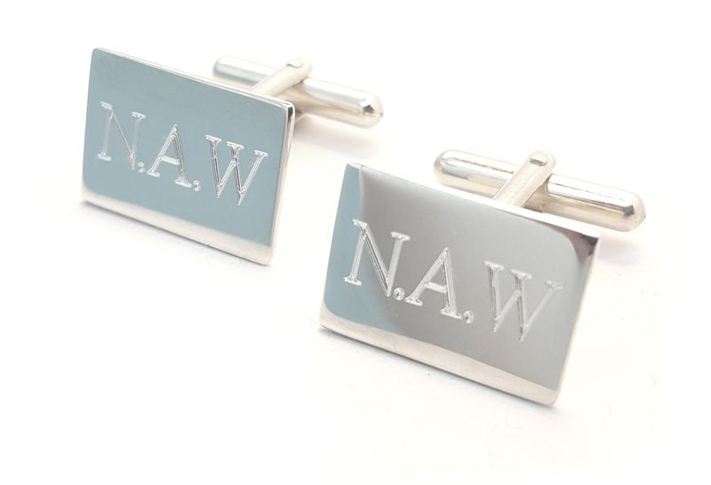 Engraved Sterling Silver cufflinks with Initials